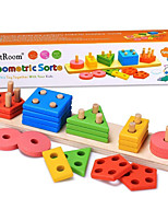 cheap -Math Toy Creative Simple Geometric Pattern Hand-made Wooden Kids Kid's All Toy Gift 21 pcs