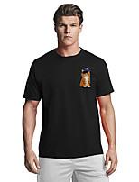 cheap -Men's T shirt Hot Stamping Cat Cartoon Animal Print Short Sleeve Daily Tops Basic Casual White Black Red