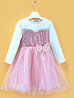 cheap -Kids Little Girls' Dress Color Block Sequins Bow Blushing Pink Long Sleeve Active Dresses Summer Regular Fit 2-6 Years