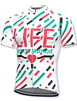 cheap -21Grams Men's Short Sleeve Cycling Jersey Spandex White Stripes Heart Bike Top Mountain Bike MTB Road Bike Cycling Breathable Quick Dry Sports Clothing Apparel / Athleisure
