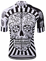 cheap -21Grams Men's Short Sleeve Cycling Jersey Spandex Red / White Blue Yellow Skull Bike Jersey Mountain Bike MTB Road Bike Cycling Sports Clothing Apparel / Stretchy / Athleisure