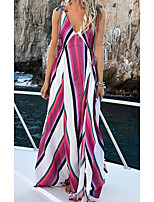 cheap -Women's A Line Dress Maxi long Dress Blushing Pink Sleeveless Striped Solid Color Print Spring Summer V Neck Casual 2021 S M L XL XXL 3XL