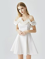 cheap -A-Line Minimalist Elegant Homecoming Cocktail Party Dress Off Shoulder Short Sleeve Short / Mini Satin with Ruffles 2021