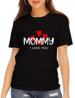 cheap -Women's T shirt Heart Text Print Round Neck Tops 100% Cotton Basic Basic Top White Black