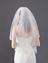 cheap -Two-tier Irregular Style / Cute Wedding Veil Shoulder Veils / Elbow Veils with Trim 19.69 in (50cm) Lace / Tulle