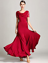 cheap -Ballroom Dance Dress Lace Tulle Women's Performance Daily Wear Short Sleeve Microfiber Polyester