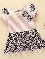 cheap -Toddler Little Girls' Dress Striped Leopard Bow Blushing Pink Knee-length Short Sleeve Cute Dresses Summer Regular Fit 2-4 Years