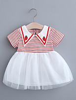 cheap -Toddler Little Girls' Dress Striped Mesh Print Black Red Blushing Pink Knee-length Short Sleeve Regular Dresses Summer Loose 2-4 Years