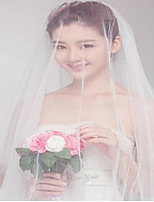 cheap -Two-tier Classic Wedding Veil Fingertip Veils with Appliques Lace