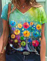 cheap -Women's T shirt Graphic Dandelion Print V Neck Tops Basic Basic Top Green