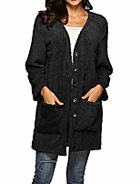 cheap -ethelding long button fluffy coats, womens winter warm woolen waterfall open front jacket cardigan outwear blouse