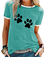 cheap -Women's T shirt Animal Patchwork Print Round Neck Tops Basic Basic Top White Blue Purple
