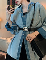 cheap -Women's Solid Colored Basic Spring &  Fall Denim Jacket Regular Daily Long Sleeve Denim Coat Tops Blue