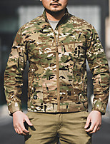 cheap -Men's Hunting Jacket Outdoor Breathable Ventilation Front Zipper Wearproof Fall Spring Solid Colored Camo Cotton Polyester Black Camouflage Green