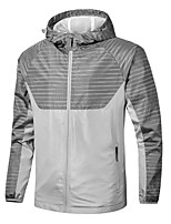 cheap -Men's Hiking Softshell Jacket Hiking Windbreaker Autumn / Fall Winter Summer Outdoor Stripes Windproof Quick Dry Lightweight Breathable Jacket Hoodie Top Full Length Visible Zipper Fishing Climbing