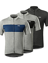 cheap -21Grams Men's Short Sleeve Cycling Jersey Spandex Black Blue Grey Solid Color Bike Jersey Mountain Bike MTB Road Bike Cycling Sports Clothing Apparel / Stretchy / Athleisure