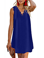 cheap -Women's Shift Dress Knee Length Dress Blue Blushing Pink Army Green Royal Blue Beige Gray Sleeveless Solid Color Summer V Neck Casual Cotton 2021 S M L XL XXL 3XL
