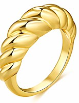 cheap -Rings for Women 18k Gold Plated Croissant Braided Twisted Signet Chunky Dome Ring Stacking Band Men Jewelry Minimalist Ring Size 5 to 10 (18k, 8)