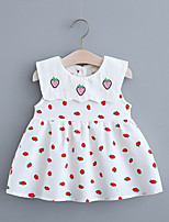 cheap -Toddler Little Girls' Dress Fruit Print Red Yellow Knee-length Sleeveless Regular Dresses Summer Loose 2-4 Years
