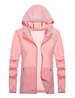 cheap -Women's Hoodie Jacket Hiking Skin Jacket Hiking Windbreaker Summer Outdoor Packable UV Sun Protection Quick Dry Lightweight Outerwear Jacket Top Running Camping / Hiking / Caving White Pink Light