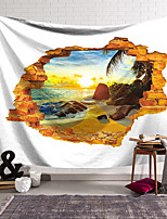 cheap -Wall Tapestry Art Decor Blanket Curtain Hanging Home Bedroom Living Room Decoration Polyester Coconut Tree at Sunset in the Window