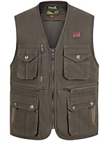 cheap -Men's Fishing Vest Outdoor Multi-Pockets Quick Dry Lightweight Breathable Vest / Gilet Autumn / Fall Spring Fishing Photography Camping & Hiking White Army Green Dark Green / Cotton / Sleeveless