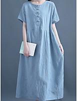 cheap -Women's Shift Dress Maxi long Dress Blushing Pink Light Blue Short Sleeve Solid Color Patchwork Fall Summer Round Neck Elegant Casual 2021 M L XL