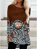 cheap -Women's T Shirt Dress Tee Dress Short Mini Dress Brown Long Sleeve Color Block Geometric Print Fall Spring Round Neck Casual 3D Print S M L XL XXL 3XL