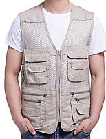 cheap -Men's Hiking Vest / Gilet Fishing Vest Military Tactical Vest Sleeveless Vest / Gilet Jacket Top Outdoor Quick Dry Lightweight Breathable Soft Autumn / Fall Spring Summer Cotton Solid Color Khaki