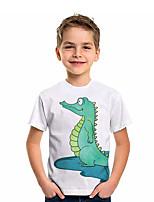 cheap -Kids Boys' T shirt Short Sleeve Dinosaur Animal Daily Wear Print Children Summer Tops Active Regular Fit White 4-12 Years