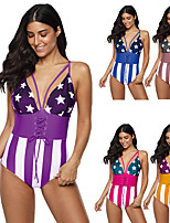 cheap -Women's One Piece Swimsuit Swimwear Bodysuit Breathable Quick Dry Sleeveless Swimming Surfing Water Sports Stripes Summer / Plus Size