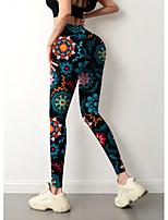 cheap -Women's Colorful Fashion Comfort Leisure Sports Weekend Leggings Pants Color Block Geometric Graphic Prints Ankle-Length Sporty Elastic Waist Print Black