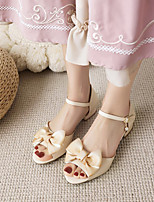 cheap -Women's Sandals Cuban Heel Open Toe Microfiber Bowknot Imitation Pearl Buckle Solid Colored White Pink Beige