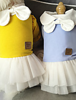 cheap -Dog Cat Dress Bowknot Lace Elegant Cute Sweet Dailywear Casual / Daily Dog Clothes Puppy Clothes Dog Outfits Breathable Yellow Orange Costume for Girl and Boy Dog Cotton XS S M L XL XXL