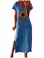 cheap -Women's Loose Maxi long Dress White Black Blue Yellow Blushing Pink Half Sleeve Floral / Botanical Spring & Summer Casual Floral S M L XL 2XL 3XL 4XL 5XL