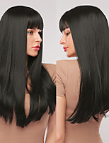 cheap -Synthetic Wig Natural Straight Layered Haircut Neat Bang Wig 28 inch A15 A16 A17 A18 A19 Synthetic Hair Women's Cosplay Party Fashion Black Gray