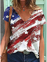 cheap -Women's T shirt Flag Print V Neck Tops Cotton Basic Basic Top Rainbow