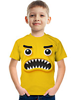 cheap -Kids Boys' Tee Short Sleeve Graphic Children Tops Active Yellow