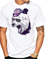 cheap -Men's Tees T shirt Hot Stamping Graphic Prints Wolf Animal Print Short Sleeve Daily Tops Basic Casual White