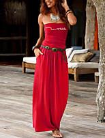 cheap -Women's Sheath Dress Maxi long Dress Black Purple Red Wine Army Green Dusty Rose Green Royal Blue Dark Gray Navy Blue Sleeveless Striped Print Summer Strapless Formal 2021 S M L XL XXL