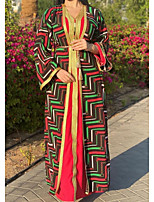 cheap -Women's Kaftan Dress Maxi long Dress Red Long Sleeve Print Solid Color Patchwork Summer V Neck Casual 2021 S M L XL