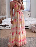 cheap -Women's Swing Dress Maxi long Dress Photo Color Sleeveless Rainbow Print Fall Summer Halter Neck Elegant Casual 2021 S M L XL 2XL