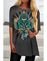 cheap -Women's T Shirt Dress Tee Dress Short Mini Dress Gray Half Sleeve Print Animal Print Spring Summer Round Neck Casual 2021 S M L XL XXL 3XL