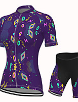 cheap -Women's Short Sleeve Cycling Jersey with Shorts Spandex Purple Bike Breathable Quick Dry Sports Graphic Mountain Bike MTB Road Bike Cycling Clothing Apparel / Stretchy / Athletic / Athleisure