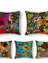 cheap -5 pcs Linen Pillow Cover, Print Simple Casual Square Polyester Traditional Classic