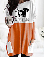 cheap -Women's T shirt Dog Graphic Animal Long Sleeve Pocket Round Neck Tops Basic Basic Top Black Orange Khaki