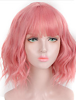cheap -Synthetic Short Wavy Pink Purple Black Bob Natural Hair Wig With Bangs Heat Resistant Fiber Cosplay Lolita Wigs For Women