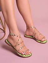 cheap -Women's Sandals Boho Bohemia Beach Flat Heel Round Toe PU Color Block Black Pink Green
