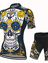 cheap -Women's Short Sleeve Cycling Jersey with Shorts Spandex Dark Navy Skull Bike Breathable Quick Dry Sports Graphic Mountain Bike MTB Road Bike Cycling Clothing Apparel / Stretchy / Athletic