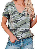 cheap -Women's T shirt Dress T shirt Camo Print V Neck Tops Basic Basic Top Blue Army Green Khaki